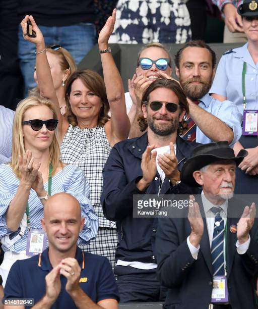 Carole Middleton her son James Middleton and Bradley Cooper react as they attend day 11 of Wimbledon 2017 on July 14 2017 in London England