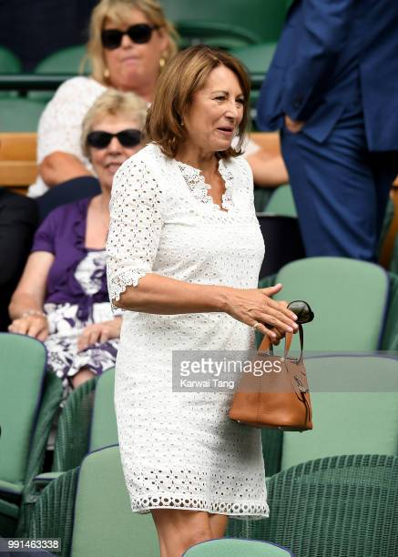 Carole Middleton in the royal box on day three of the Wimbledon Tennis Championships at the All England Lawn Tennis and Croquet Club on July 4 2018...