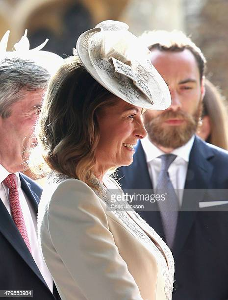 Carole Middleton leaves the Church of St Mary Magdalene on the Sandringham Estate for the Christening of Princess Charlotte of Cambridge on July 5,...
