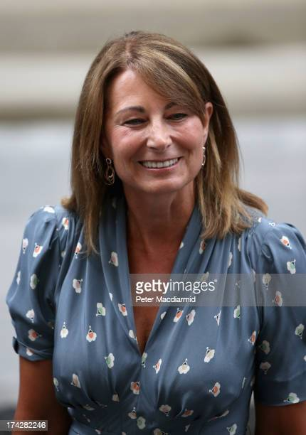 Carole Middleton leaves The Lindo Wing after visiting The Duchess Of Cambridge and her newborn son at St Mary's Hospital on July 23, 2013 in London,...