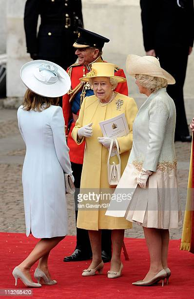 Carole Middleton Prince Philip Duke of Edinburgh Queen Elizabeth II and Camilla Duchess of Cornwall exit Westminster Abbey after the Royal Wedding of...