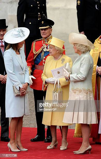 Carole Middleton Prince Philip Duke of Edinburgh Queen Elizabeth II and Camilla Duchess of Cornwall exit the Royal Wedding of Prince William to...