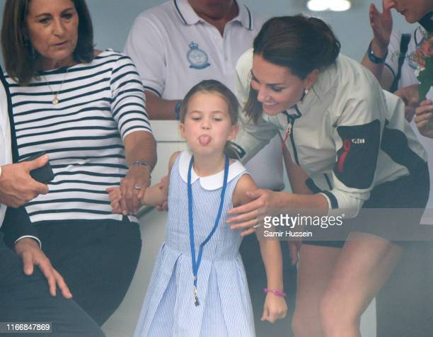 Carole Middleton Princess Charlotte and Catherine Duchess of Cambridge attend the presentation following the King's Cup Regatta on August 08 2019 in...