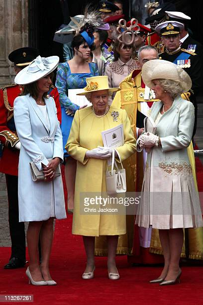 Carole Middleton, Queen Elizabeth II and Camilla, Duchess of Cornwall speak following the marriage of Prince William, Duke of Cambridge and...