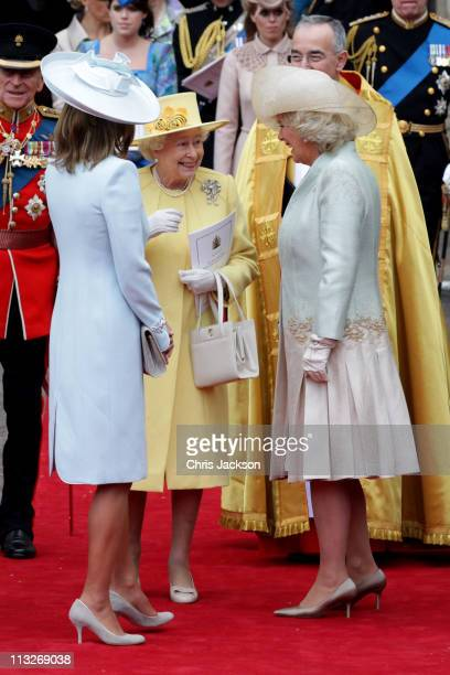 Carole Middleton Queen Elizabeth II and Camilla Duchess of Cornwall share a joke following the marriage of Prince William Duke of Cambridge and...