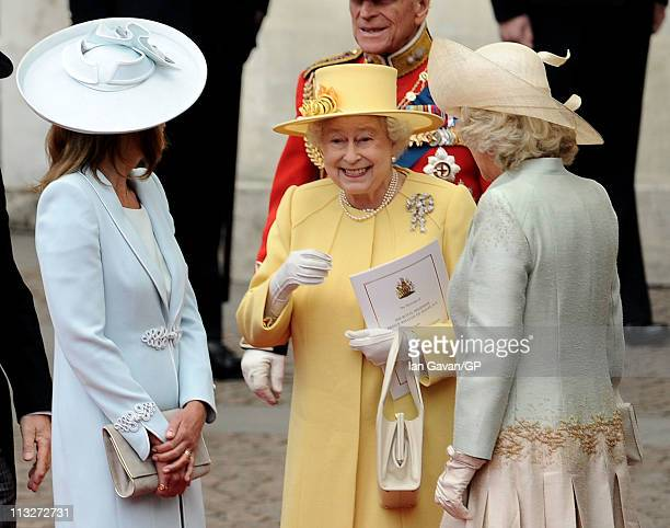 Carole Middleton Queen Elizabeth II and Camilla Duchess of Cornwall exit the Royal Wedding of Prince William to Catherine Middleton at Westminster...