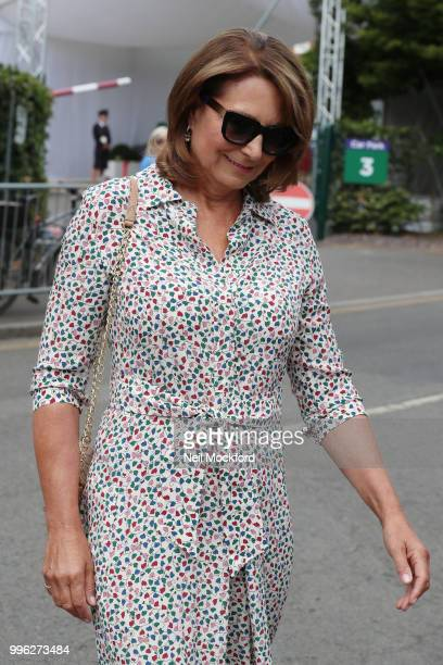 Carole Middleton seen arriving on day nine of the Wimbledon Lawn Tennis Championships at All England Lawn Tennis and Croquet Club on July 11 2018 in...