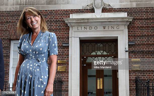 Carole Middleton visit sThe Duke and Duchess of Cambridge and their newborn Son at The Lindo Wing St Mary's Hospital on July 23 2013 in London England