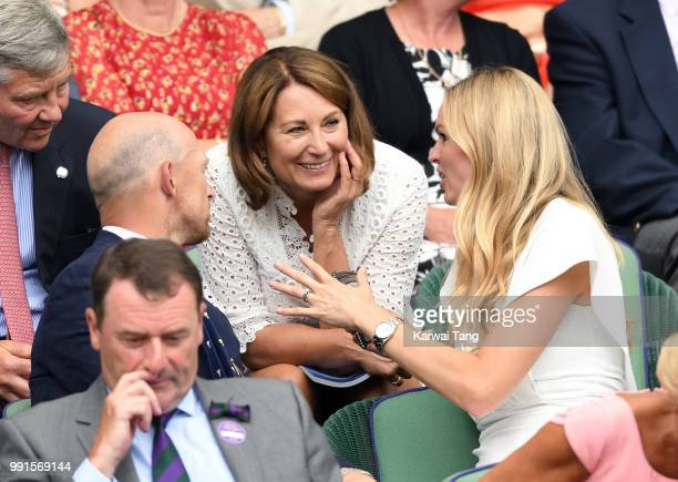 Carole Middleton with Matt Dawson and wife Carolin Hauskeller in the royal box on day three of the Wimbledon Tennis Championships at the All England...