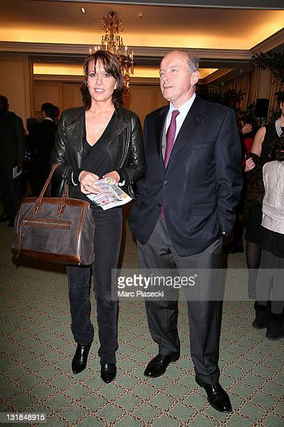 Carole Rousseau and former french minister Jacques Toubon attend the charity event for 'children in Haiti' at Hotel Bristol on January 5 2011 in...