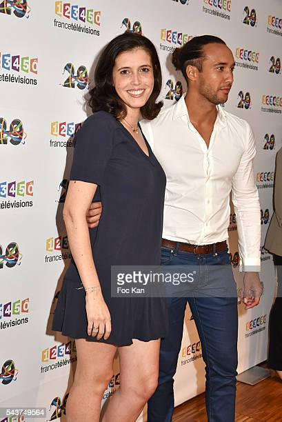 Carole Tolila and a presenter attend France Television presents its programs 20162017 at France Television studios on June 29 2016 in Paris France
