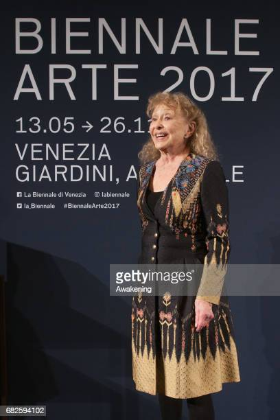 Carolee Schneemann receives the Golden Lion for Lifetime Achievement during the Opening Ceremony of the 57th Biennale Arte on May 13 2017 in Venice...