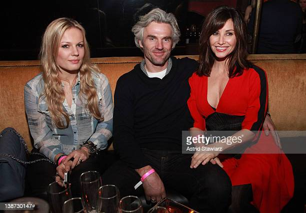 Carolin Dekeyser, Bobby Dekeyser and Gina Gershon attend the Charlotte Ronson Fall 2012 fashion show after party during Mercedes-Benz Fashion Week at...