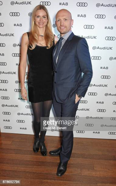Carolin Hauskeller and Matt Dawson attend the Audi A8 Launch at Cowdray House on November 24 2017 in Midhurst England