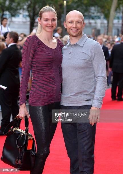 Carolin Hauskeller and Matt Dawson attend the World Premiere of The Inbetweeners 2 at Vue West End on August 5 2014 in London England