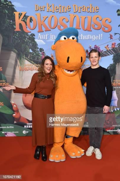 Carolin Kebekus and actor Max von der Groeben attend the premiere for the film 'Der kleine Drache Kokosnuss Auf in den Dschungel' at Cinemaxx on...