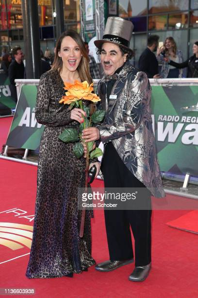 Carolin Kebekus and Charlie Chaplin look a like during the Radio Regenbogen Award at Europapark on April 12 2019 in Rust Germany