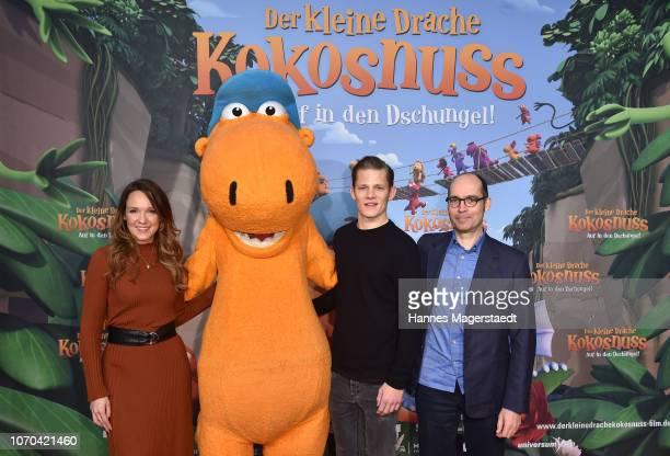 Carolin Kebekus Max von der Groeben and Ingo Siegner attend the premiere for the film 'Der kleine Drache Kokosnuss Auf in den Dschungel' at Cinemaxx...