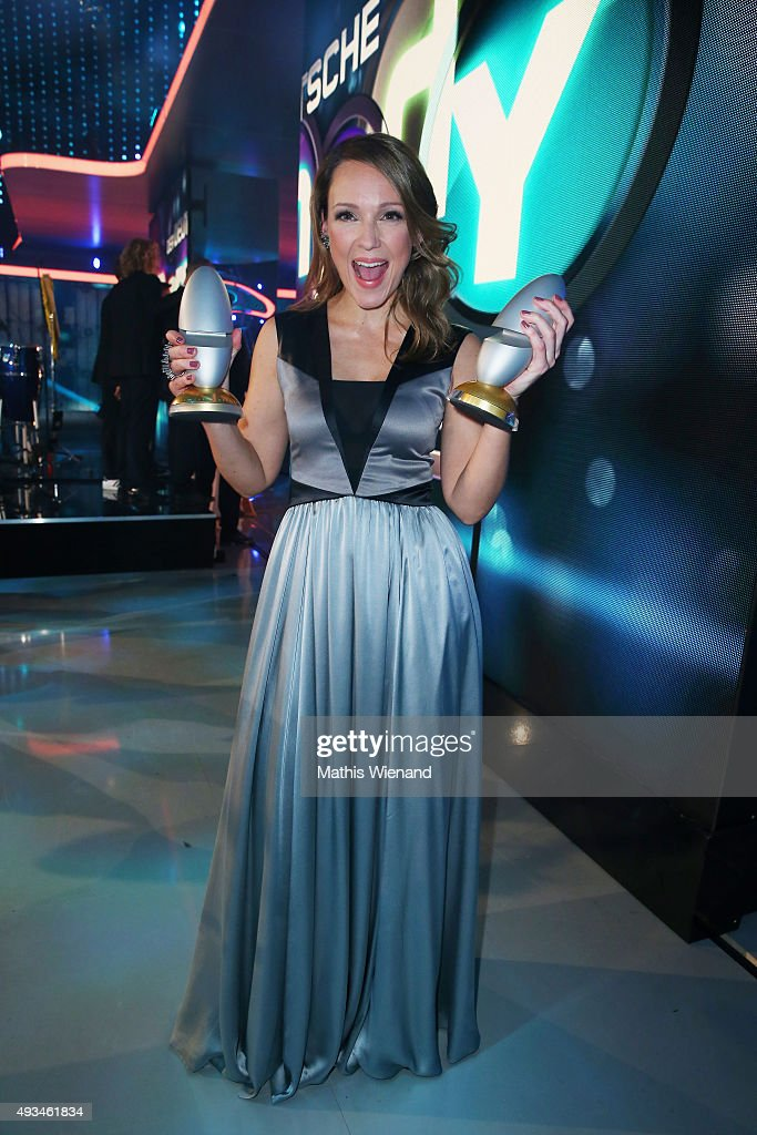 Carolin Kebekus poses with her award after the 19th Annual German Comedy Awards show at Coloneum on October 20, 2015 in Cologne, Germany.