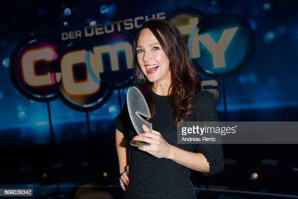 Carolin Kebekus poses with her award as 'Best Comedian' during the 21st Annual German Comedy Awards on October 24 2017 in Cologne Germany