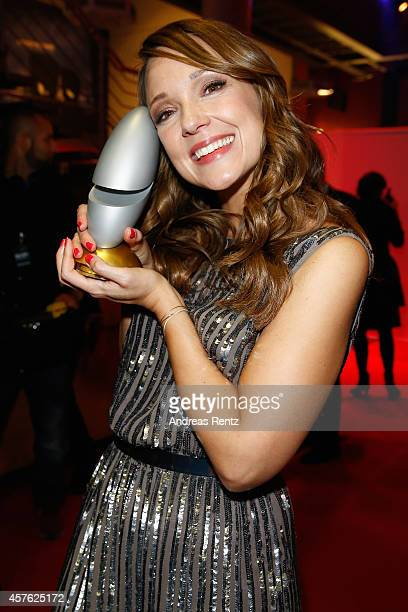 Carolin Kebekus poses with her award during the 18th Annual German Comedy Awards at Coloneum on October 21 2014 in Cologne Germany The show will be...