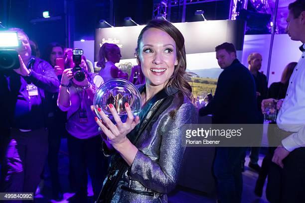 Carolin Kebekus presents her award during the 1Live Krone 2015 at Jahrhunderthalle on December 3 2015 in Bochum Germany