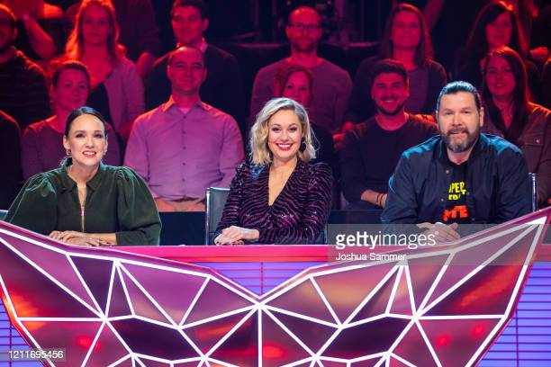 Carolin Kebekus Ruth Moschner and Rea Garvey during the first liveshow of The Masked Singer at MMC Studios on March 10 2020 in Cologne Germany