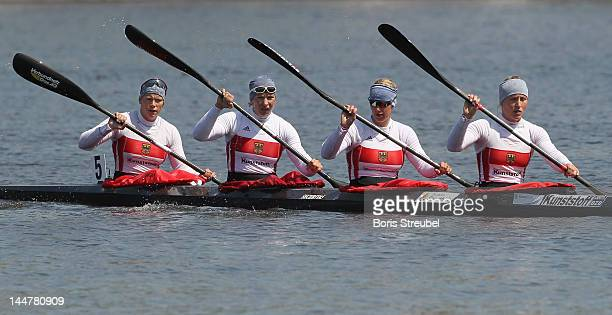 Carolin Leonhardt Franziska Weber Katrin Wagner Augustin and Tina Dietze look on after the women's kayak four 500m Afinal during day two of the ICF...