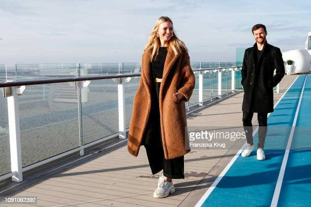 Carolin Niemczyk and Daniel Grunenberg during the launch ceremony of the cruise ship Mein Schiff 2 on January 29 2019 in Bremerhaven Germany