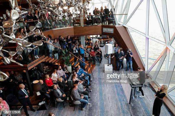 """Carolin Niemczyk and Daniel Grunenberg during the launch ceremony of the cruise ship """"Mein Schiff 2"""" on January 29, 2019 in Bremerhaven, Germany."""