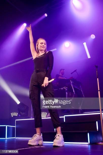 Carolin Niemczyk and Daniel Grunenberg of the German band Glasperlenspiel perform live on stage during a concert at the Huxleys on April 18 2019 in...