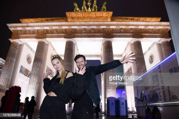 Carolin Niemczyk and Daniel Grunenberg of the music duo Glasperlenspiel during the ZDF TV Show 'Willkommen 2019' New Years Eve Party at Brandenburg...