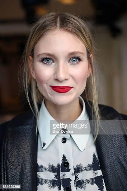 Carolin Niemczyk attends the Leonie Mergen show during the MercedesBenz Fashion Week Berlin A/W 2017 at Kaufhaus Jandorf on January 18 2017 in Berlin...
