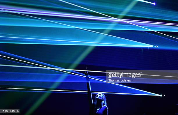Carolin Niemczyk of the band 'Glasperlenspiel' performs the LEA Live Entertainment Award 2016 at Festhalle Frankfurt on April 4 2016 in Frankfurt am...