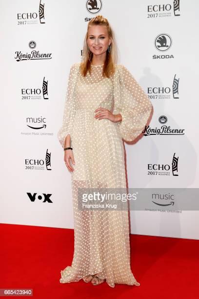 Carolin Niemczyk singer of the band Glasperlenspiel attends the Echo award red carpet on April 6 2017 in Berlin Germany