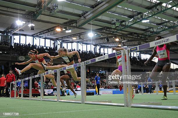 Carolin Nytra of Germany competes in the Women's 60m Hurdles Heat 2 during the International Indoor Track and Field Meeting at Europahalle on...