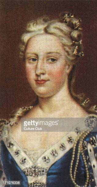 Carolin of Ansbach portrait . Caroline was married to George II and had political control in his Court. From Player's cigarette cards, based on the...