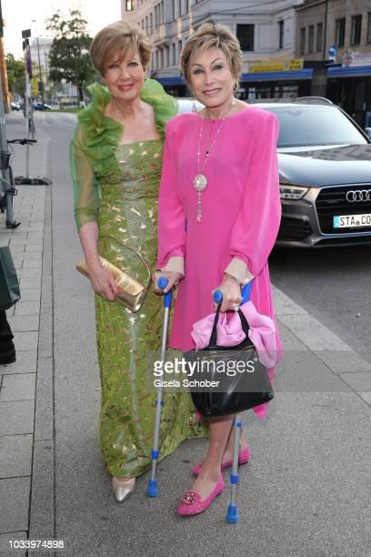 Carolin Reiber and Dr AntjeKatrin Kuehnemann during the arrival to the wedding dinner of Ralph Siegel and Laura Kaefer at Palais Lenbach on September...