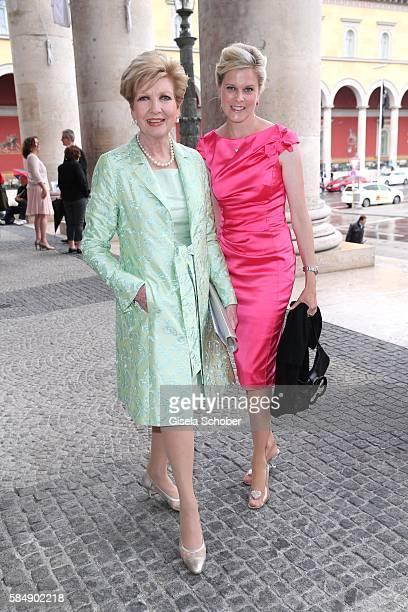 Carolin Reiber and her daughterinlaw Dr Cathrin Maier during the premiere of the opera 'Die Meistersinger von Nuernberg' at Bayerische Staatsoper on...