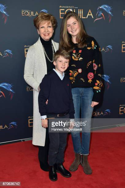 Carolin Reiber and her grandchildren Laurentius Maier and Magdalena Maier during the world premiere of the horse show 'EQUILA' at Apassionata...