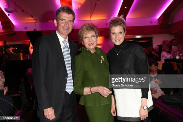 Carolin Reiber with her son Dr Marcus Maier and his wife Dr Cathrin Maier during the piano night hosted by Wempe and Glashuette Original at...