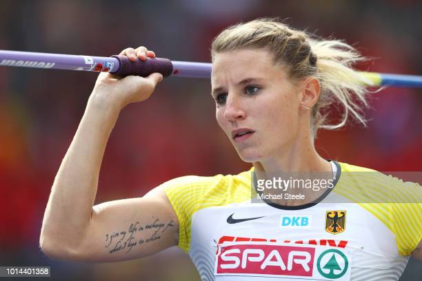 Carolin Schaefer of Germany competes in the Women's Heptathlon Javelin Throw during day four of the 24th European Athletics Championships at...