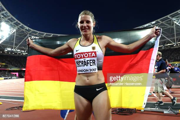 Carolin Schafer of Germany celebrates after the Women's Heptathlon 800 metres and winning silver in the Heptathlon during day three of the 16th IAAF...
