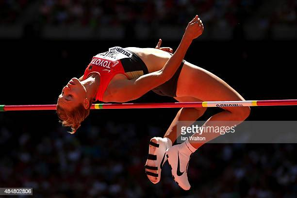 Carolin Schafer of Germany competes in the Women's Heptathlon High Jump during day one of the 15th IAAF World Athletics Championships Beijing 2015 at...
