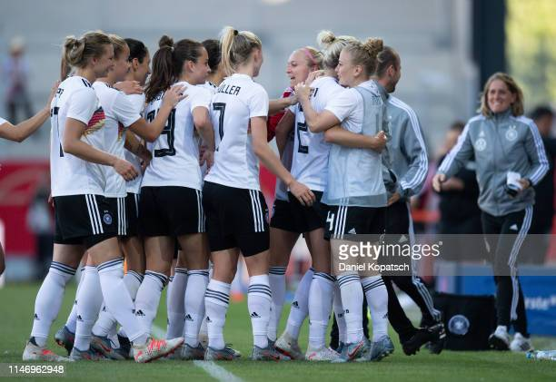Carolin Simon of Germany celebrates her team's second goal with teammates during the international friendly match between Germany Women and Chile...
