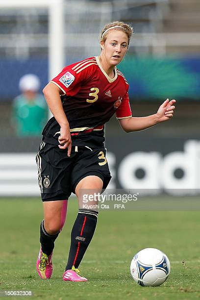 Carolin Simon of Germany passes the ball during the FIFA U20 Women's World Cup Japan 2012 Group D match between Ghana and Germany at Hiroshima Big...