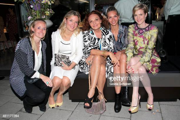 Carolin von Waldburg Marie Cecil von Fuerstenberg Diane von Fuerstenberg Kim Eberle Minzi zu Hohenlohe attend the private dinner hosted by...