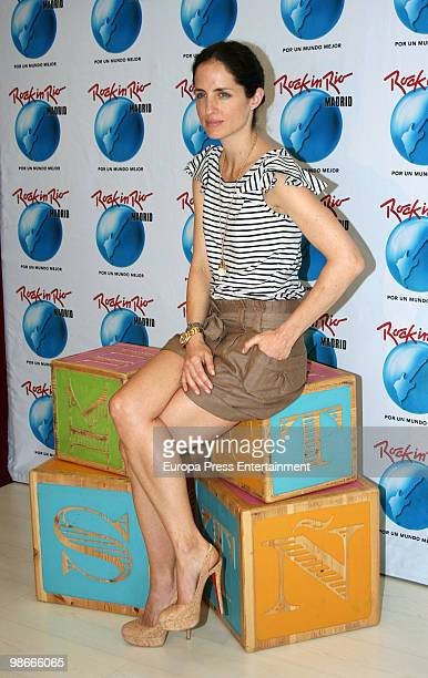 Carolina Adriana Herrera daughter of Venezuelan fashion designer Carolina Herrera presents the 'Rock in Rio' program for children on April 23 2010 in...