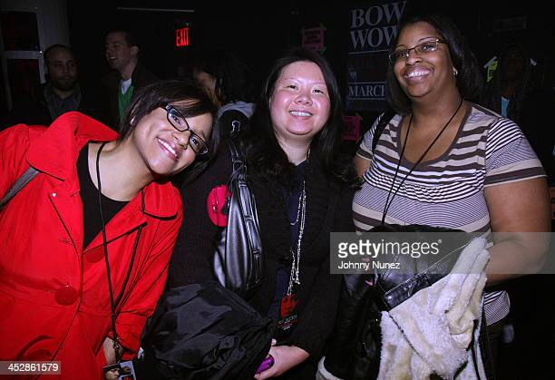 Carolina Aduey Jacinda Chen and Lori McNeil attend Bow Wow's New Jack City II album release party at Santos Party House on March 31 2009 in New York...