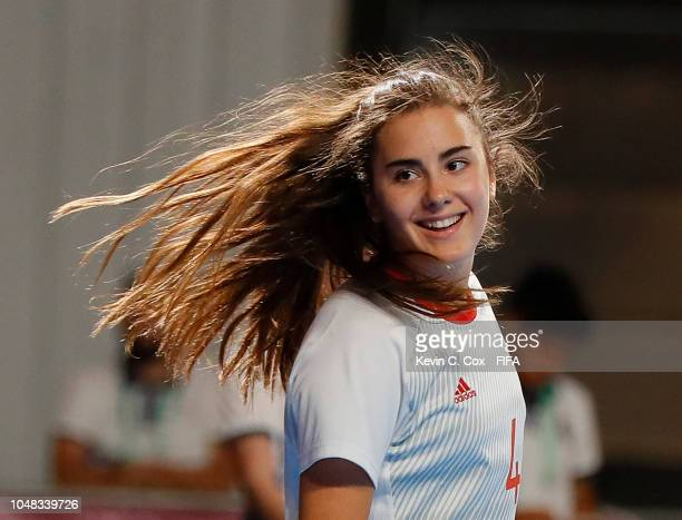 Carolina Agulla of Spain celebrates scoring the fifth goal against Thailand in the Women's Group C match between Thailand and Spain during the Buenos...